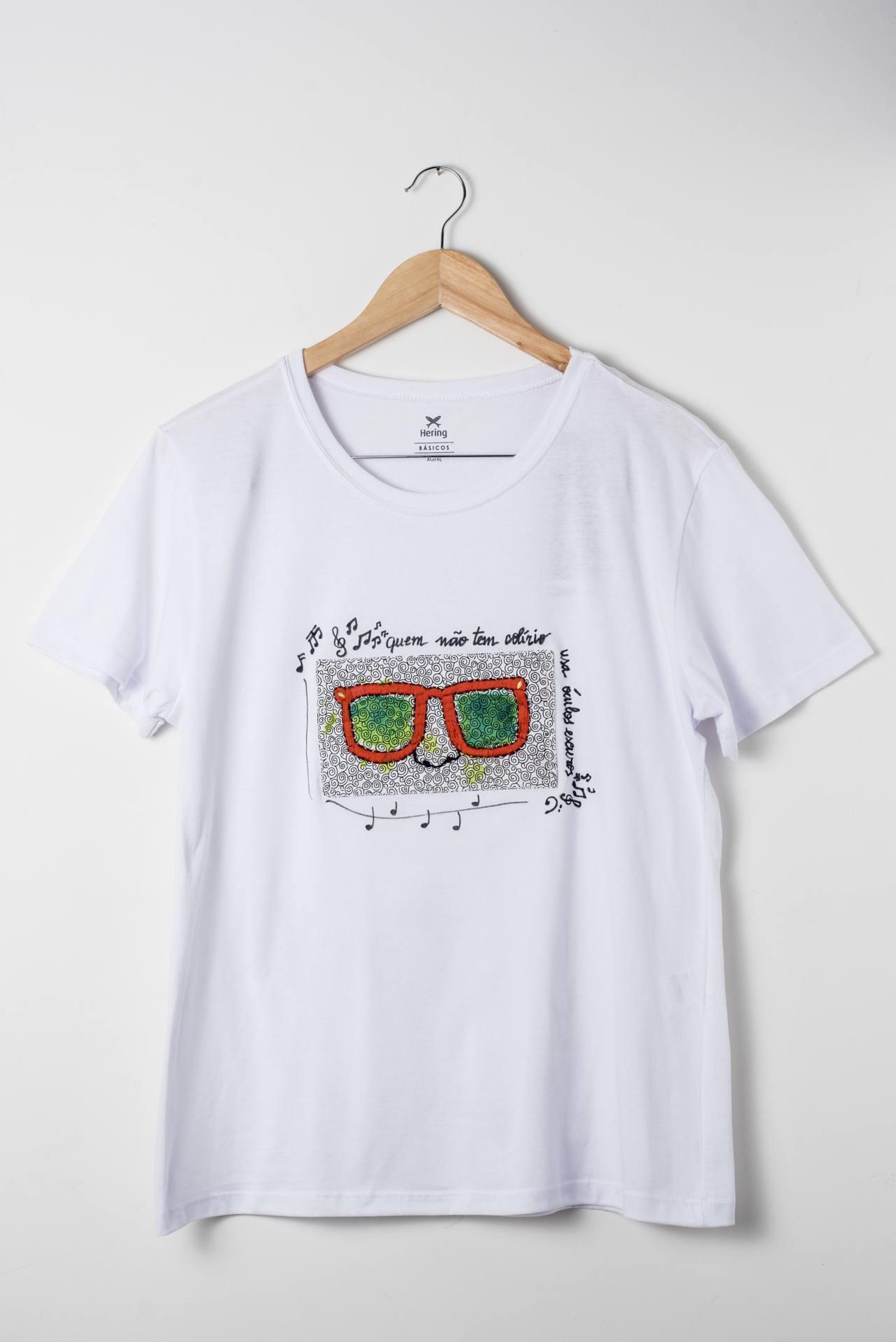 Camiseta bordada Eu uso óculos escuros 2 - Delicates