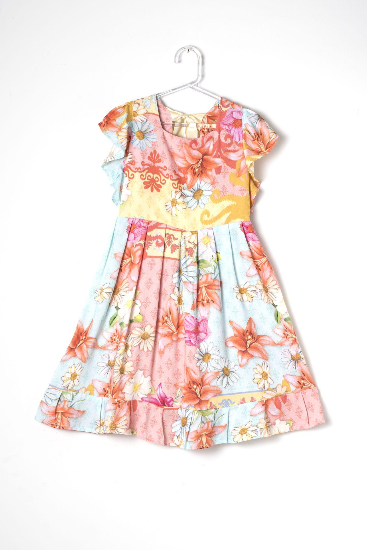 Vestido Infantil Maitê Jardim Suave - Oficinazinha