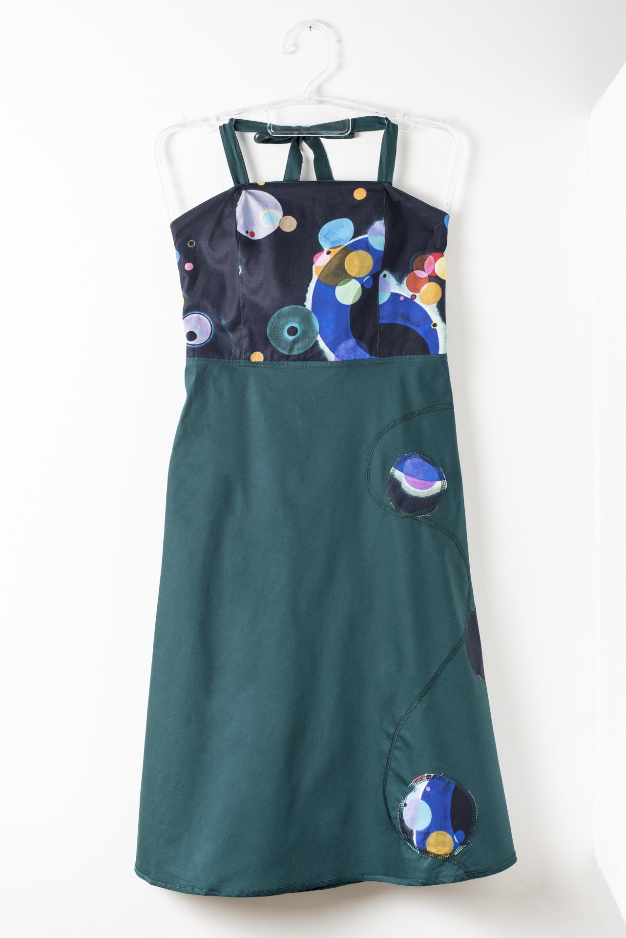 Vestido TQC Dupla Face Verde (Estampa Aquarela) - Diversa