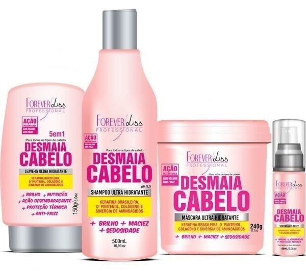 Kit Desmaia Cabelos Forever Liss Shampoo 500ml, Máscara 240g, Leave-in 150g e Sérum 60ml