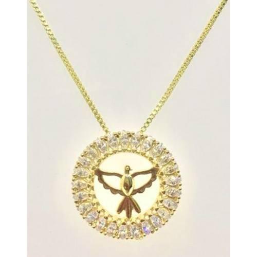 Pingente Mini Mandala Espírito Santo, Folheada a Ouro 18k