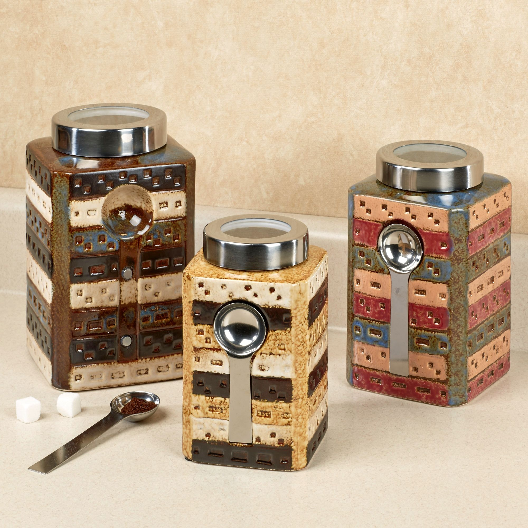 Rustic Kitchen Canister Setsmatteo ceramic kitchen canister sets with spoon for kitchen