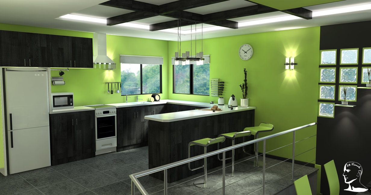 Black And Lime Green Kitchen Decor