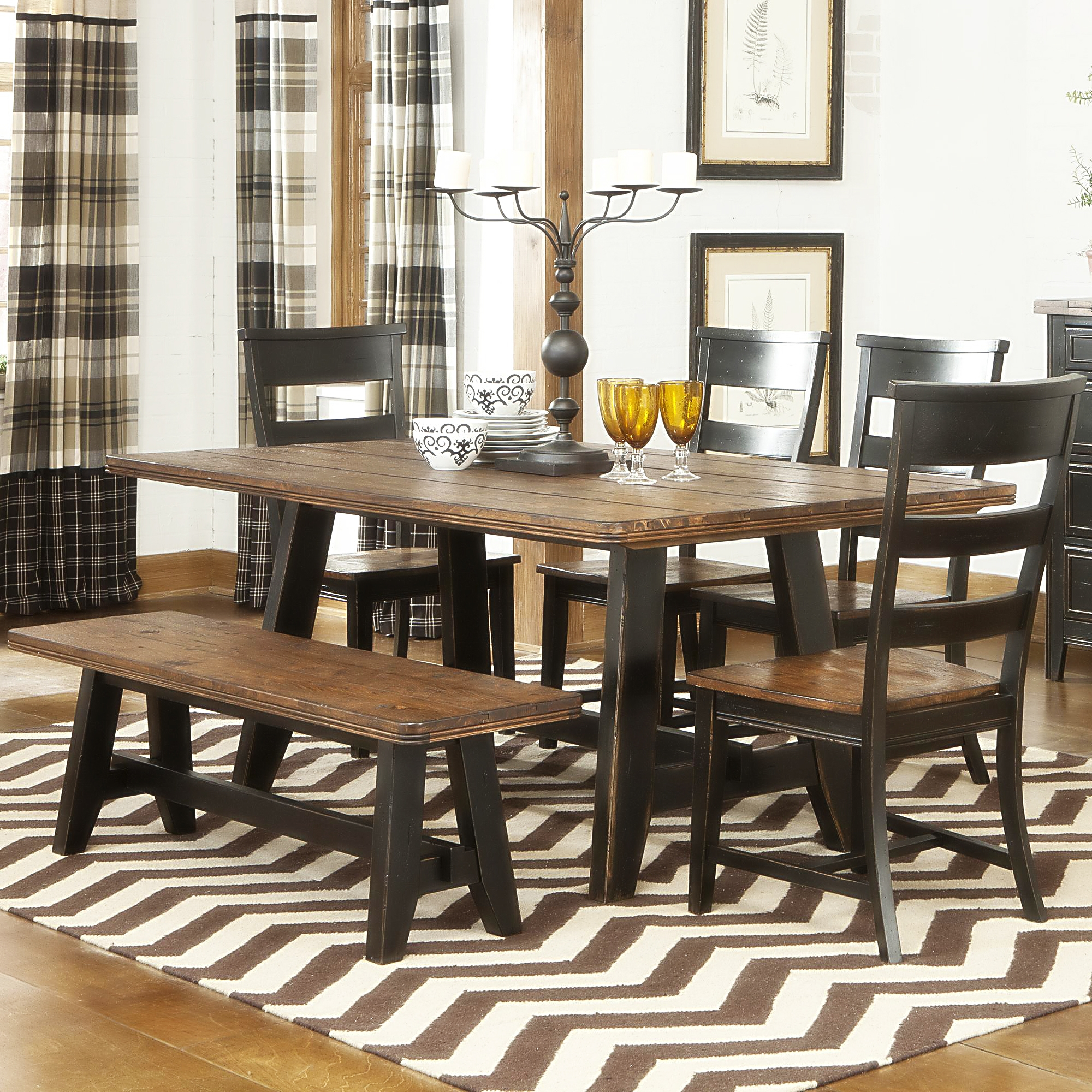 Black Kitchen Table Set With Bench