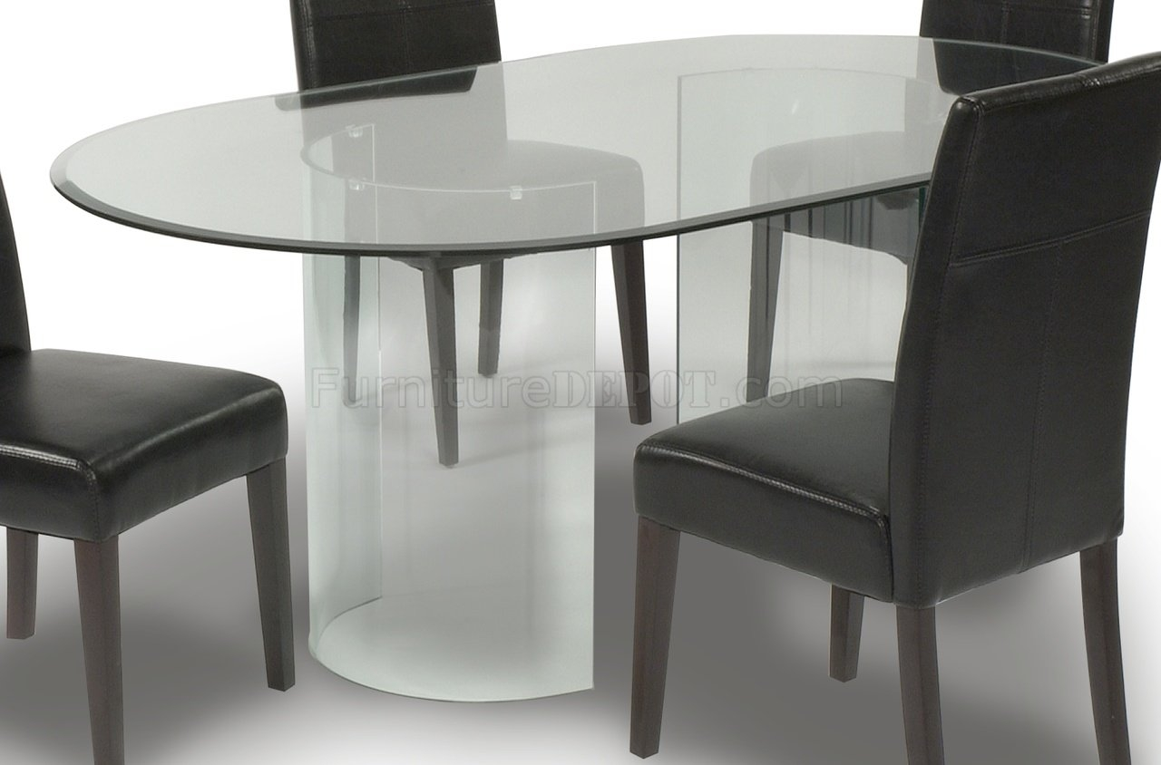 Oval Glass Kitchen Table Setglass oval top modern dining table woptional chairs