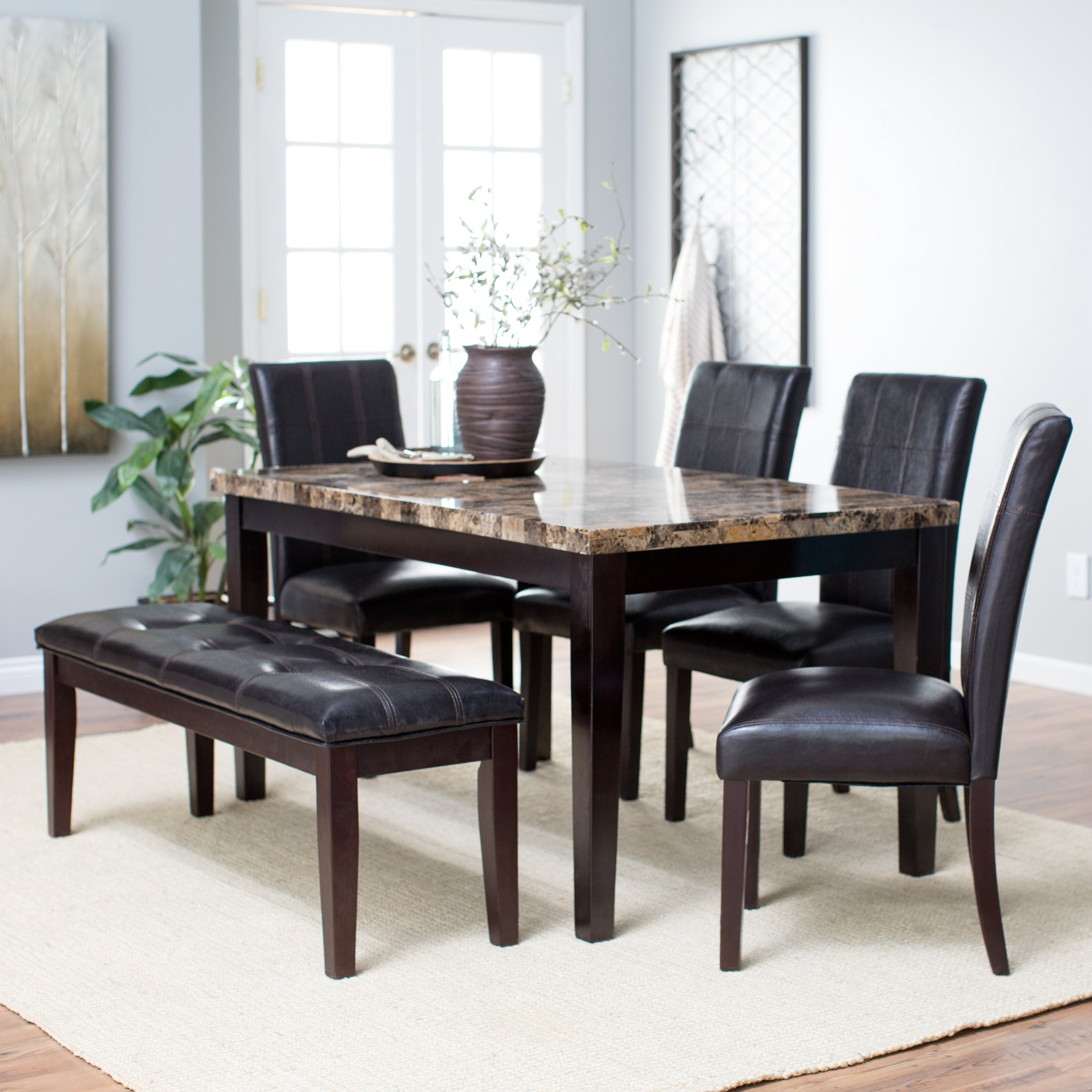 6 Piece Kitchen Table Set With Bench