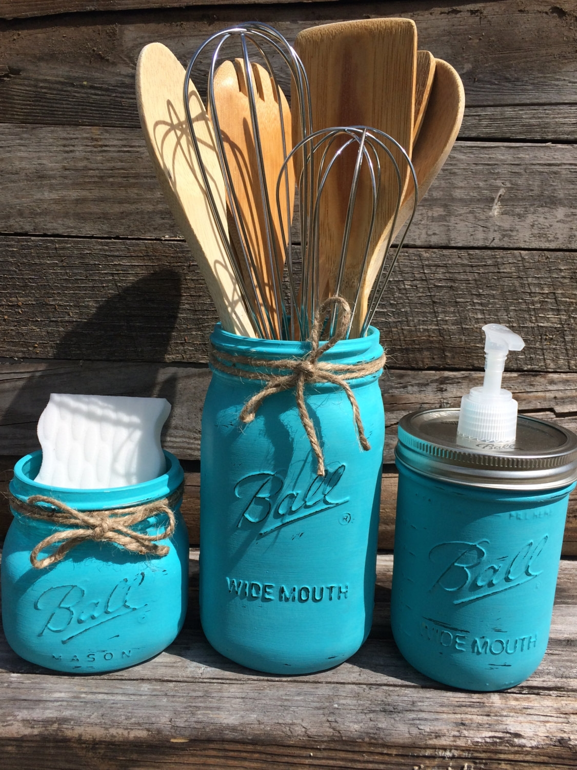 Blue Mason Jar Kitchen Decor