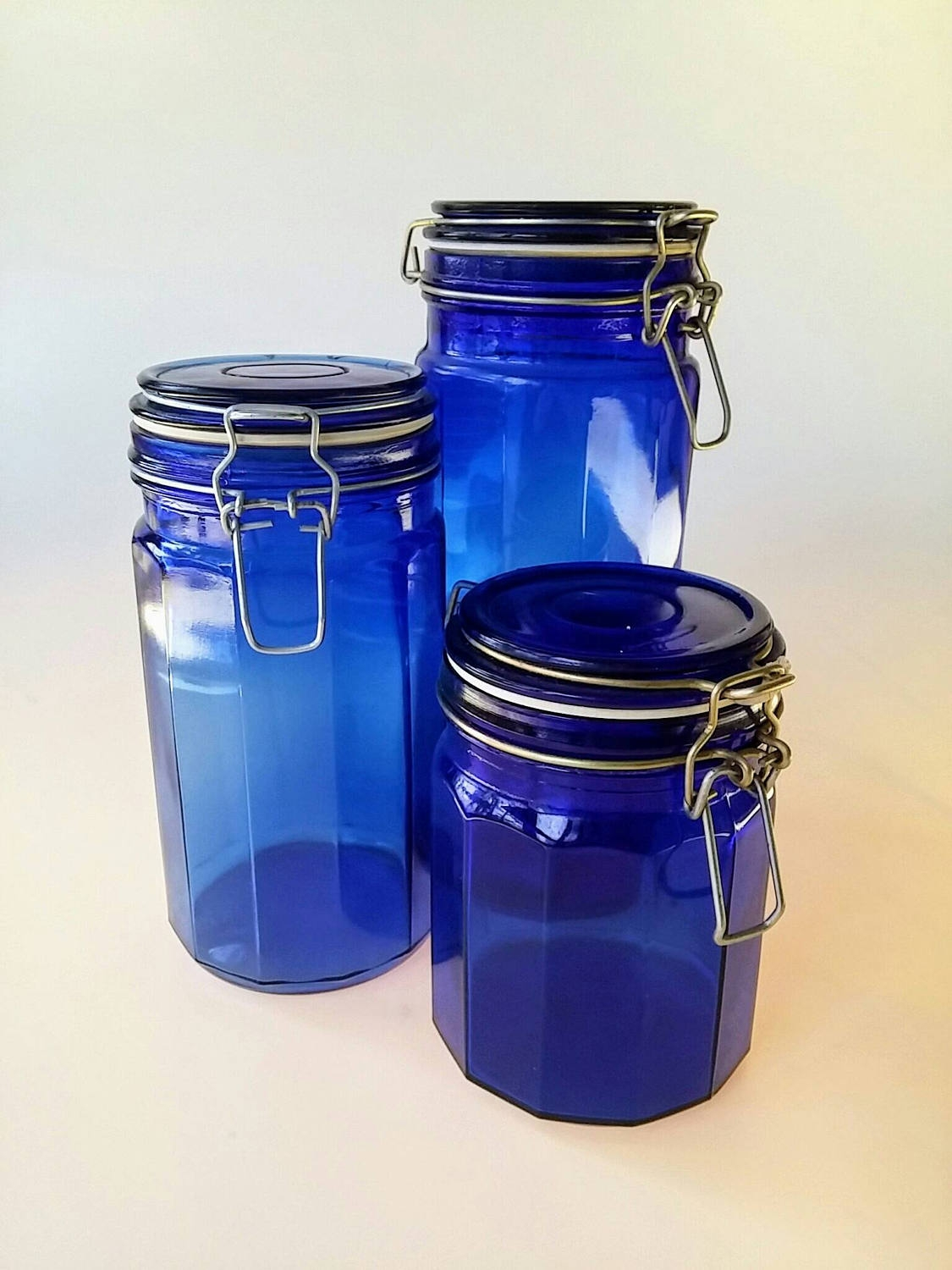 Permalink to Cobalt Blue Glass Kitchen Canister Set