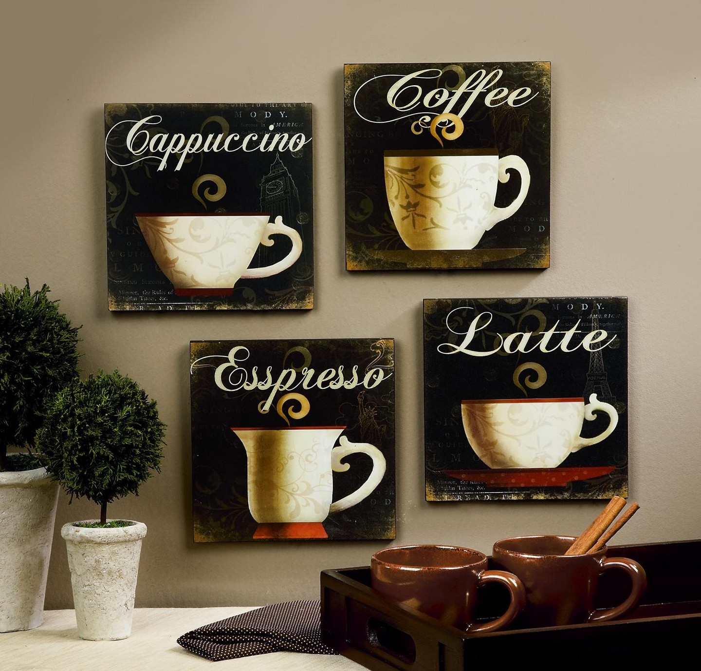 Coffee Cup Decor For Kitchen