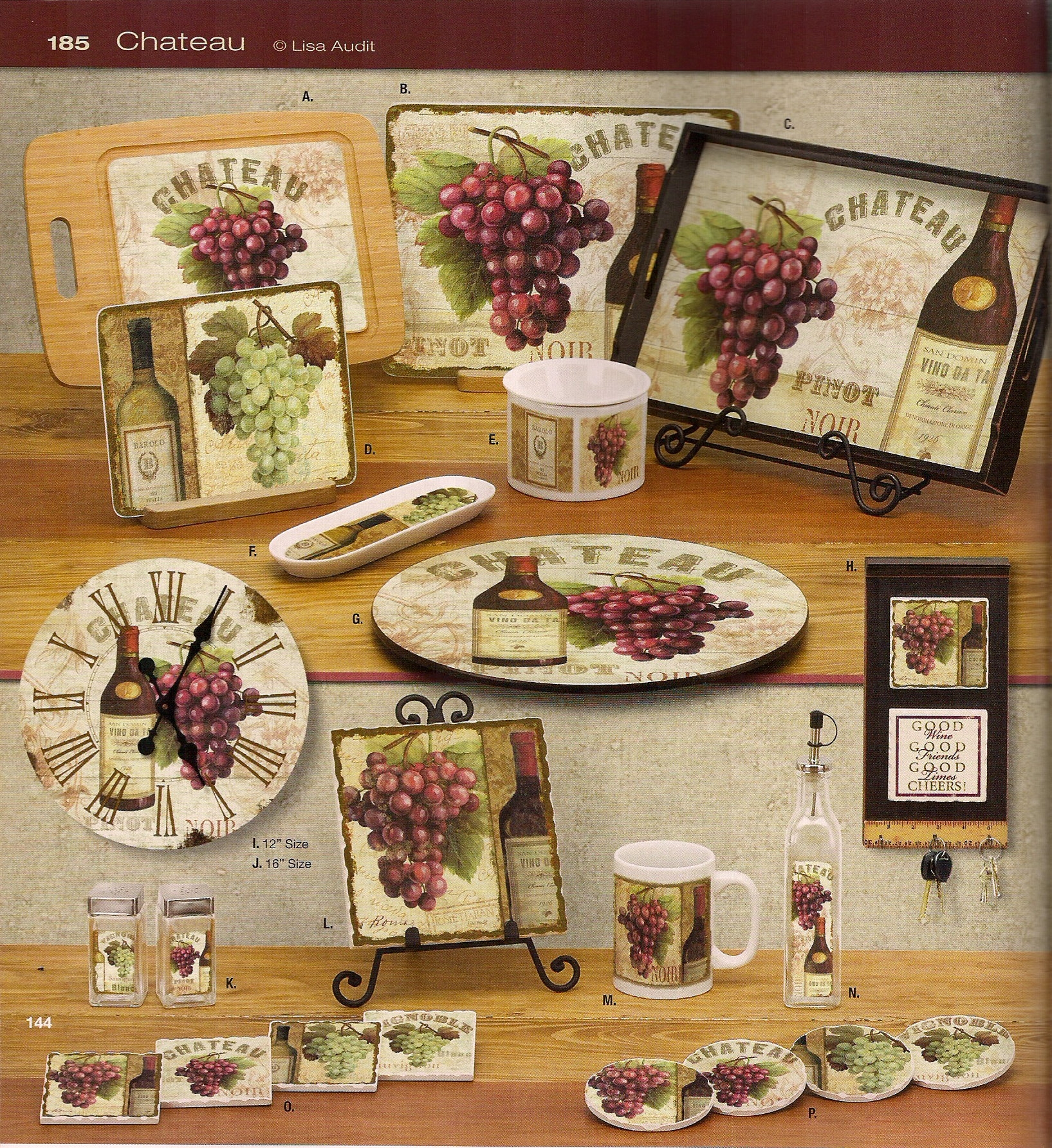 Grapes & Wine Decorations For Kitchen