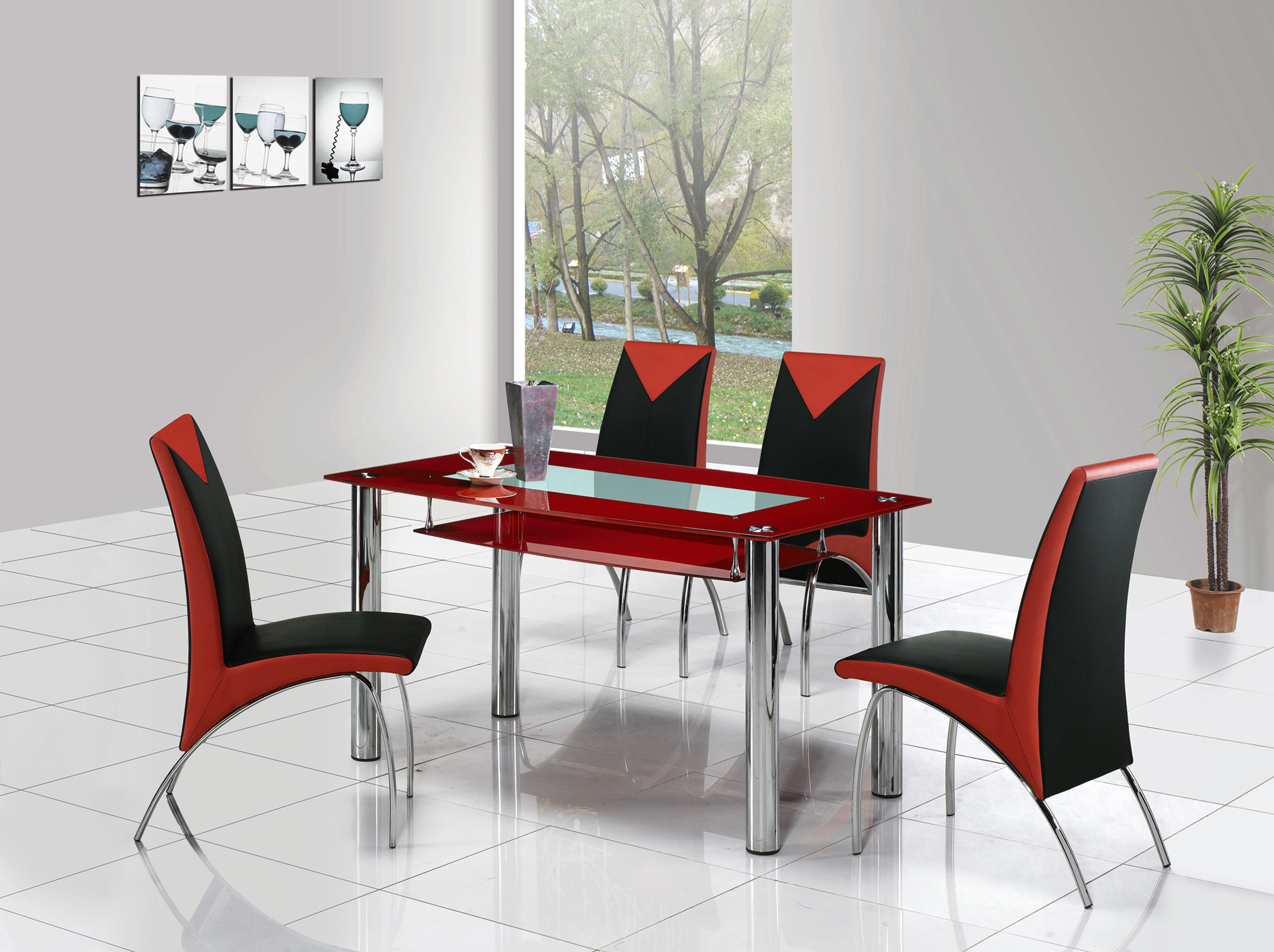 Red And Black Kitchen Table Set Decor Sets