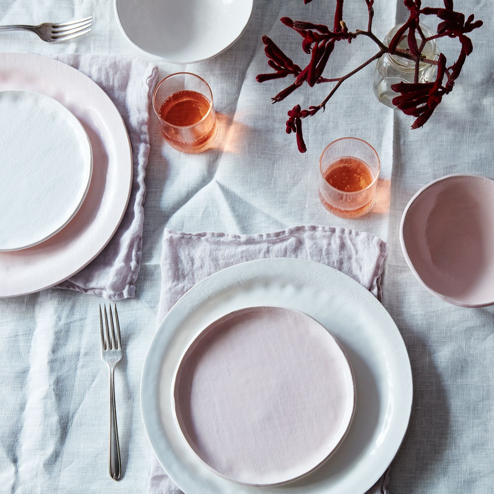 Think Kitchen Dish Setsfood52 pink textured porcelain dinnerware set looks like white