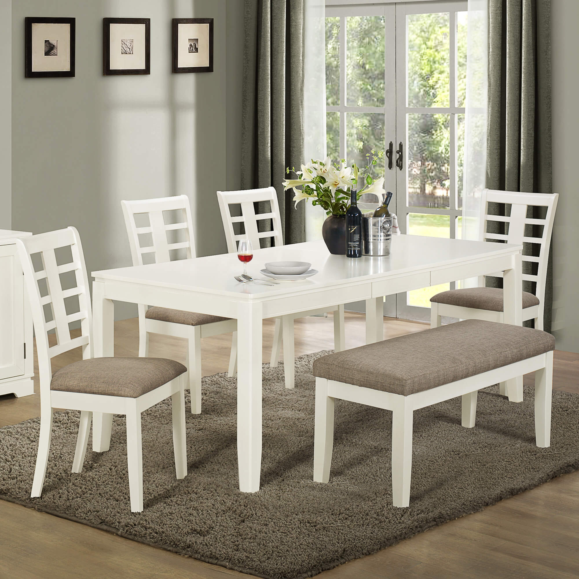 White Kitchen Table Set With Bench