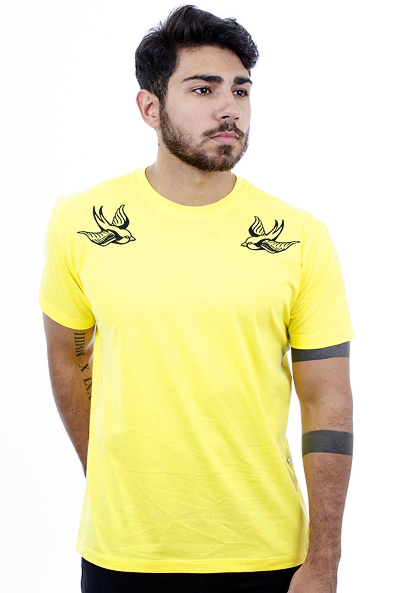 Camiseta Masculina Estampada  Andorinhas Amarelo Hardivision