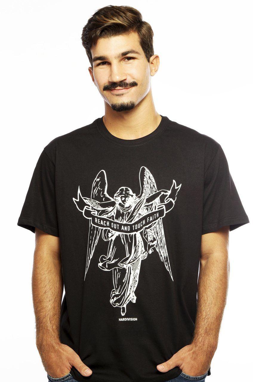 Camiseta MasculinaEstampada Anjo Preto Hardivision