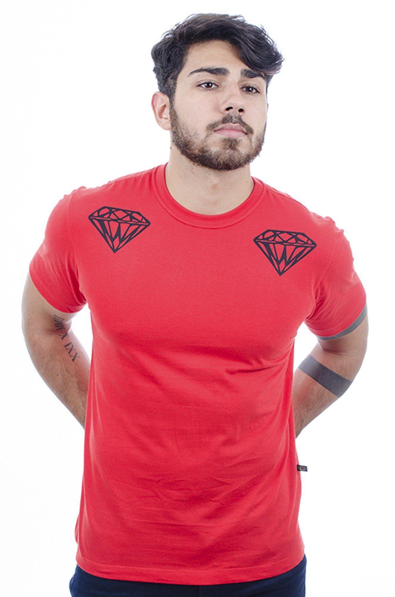 Camiseta Masculina Estampada Hardivision Diamonds Vermelho