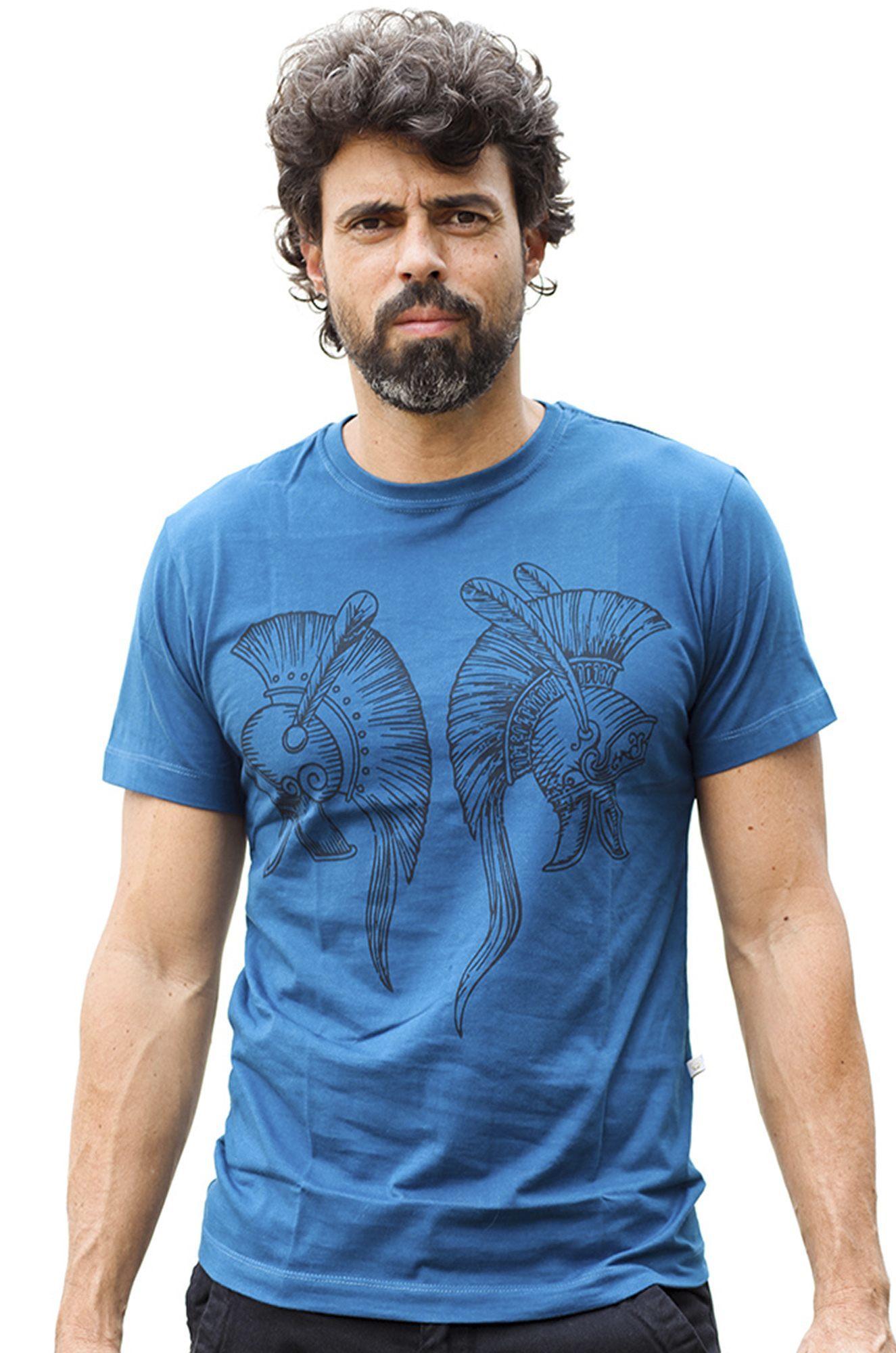 Camiseta Masculina Estampada Hardivision Elmos Azul Petroleo