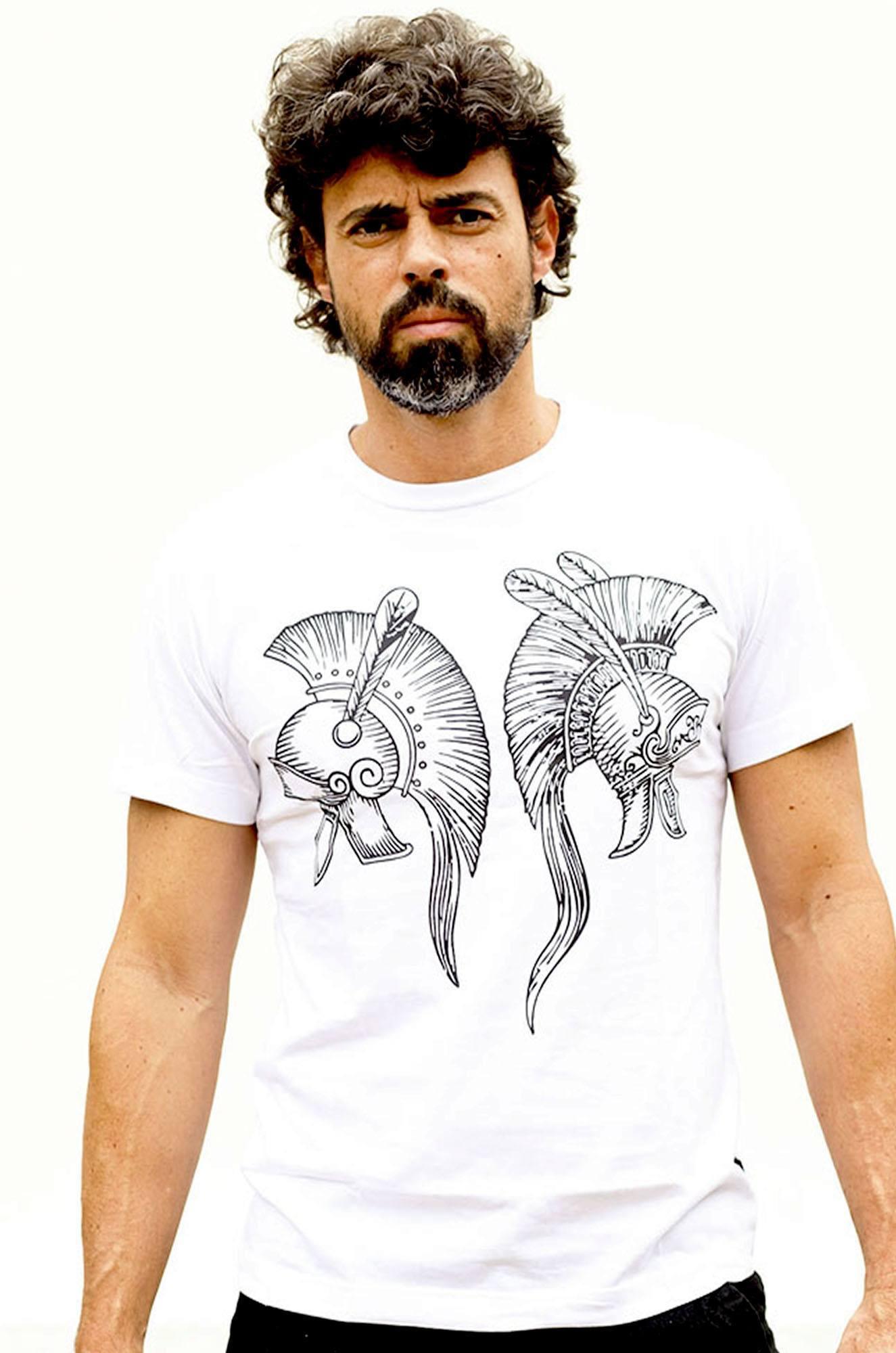 Camiseta Masculina Estampada Hardivision Elmos Branco