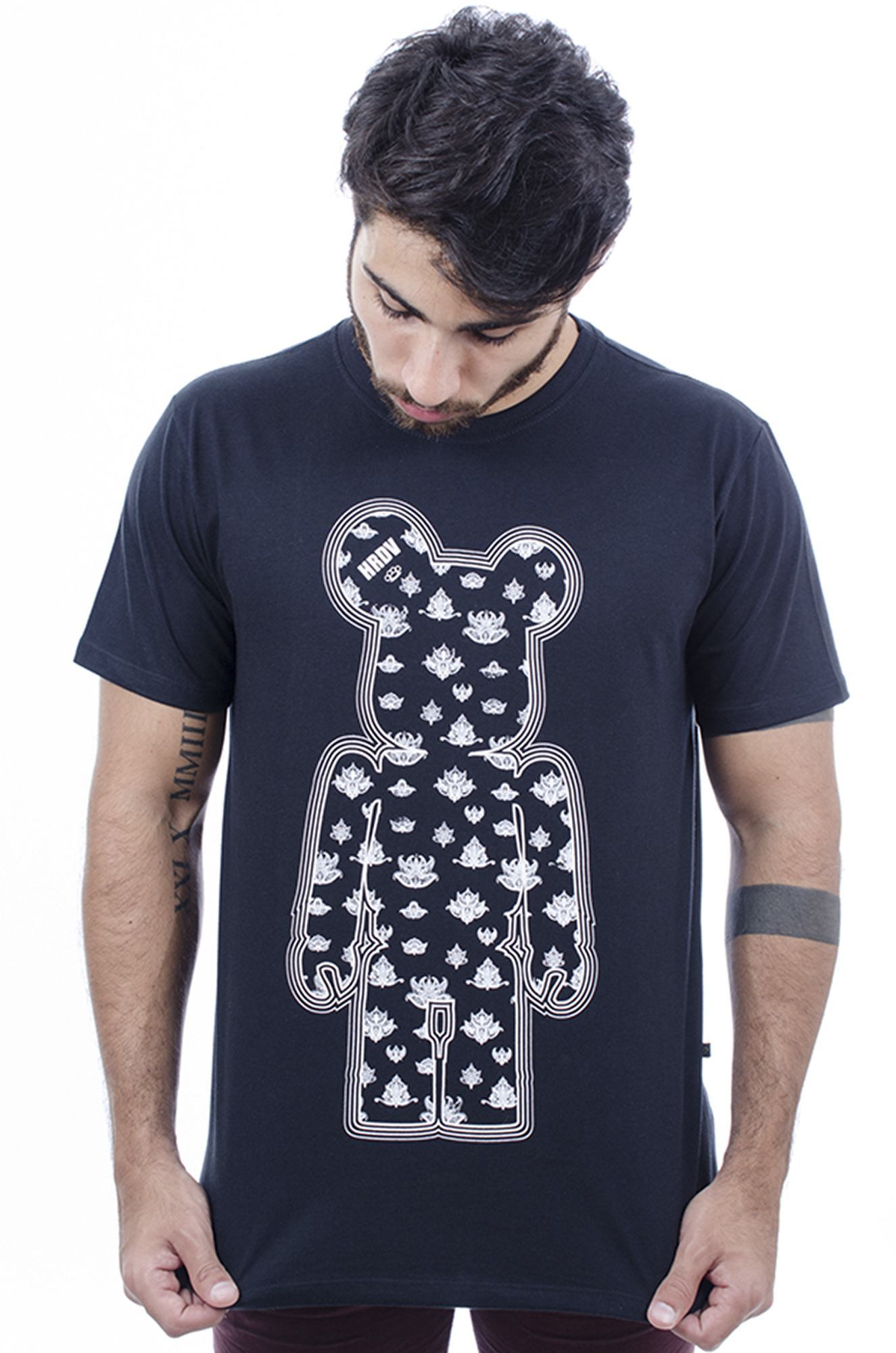 Camiseta Masculina Estampada Indian Toy Art Preto Hardivision