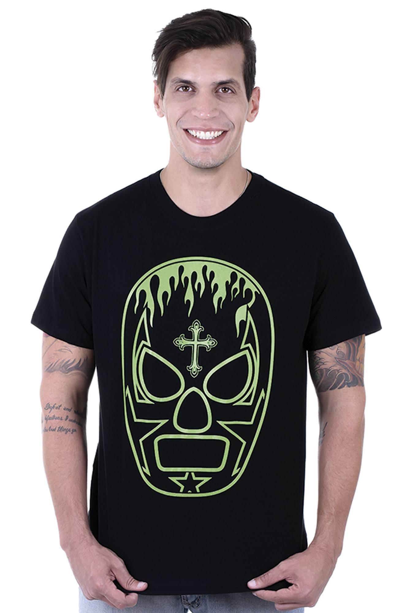 Camiseta  Masculina  Estampada Lucha Libre Preto Hardivision