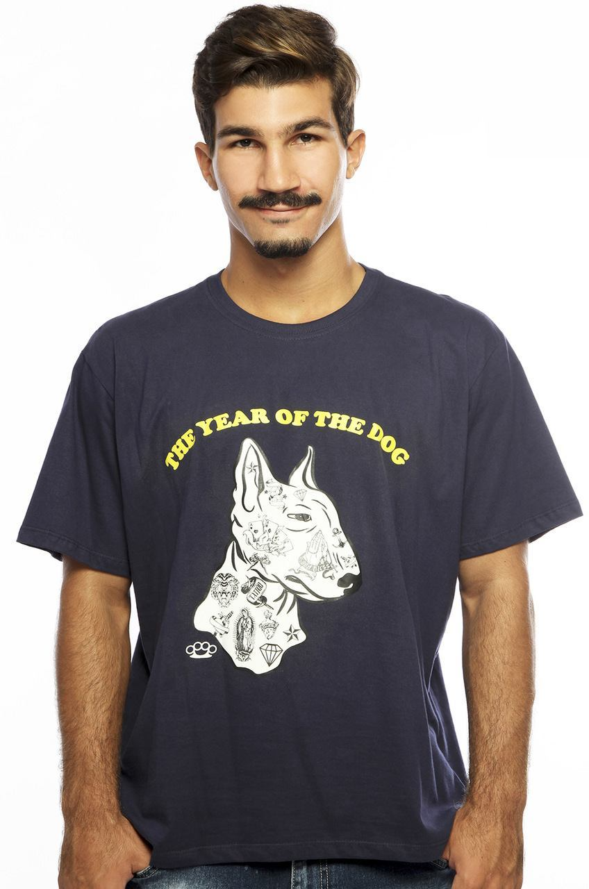 Camiseta Masculina Estampada The Dog Azul Hardivision