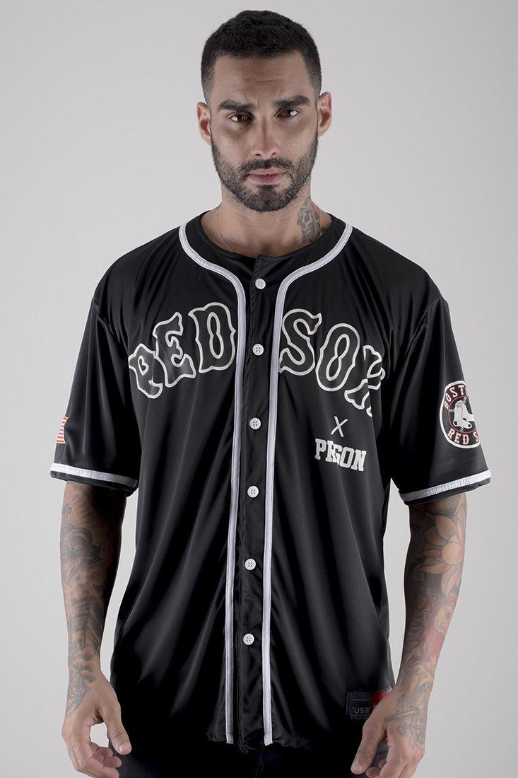 Camisa de Baseball Red Sox  Prison Preta