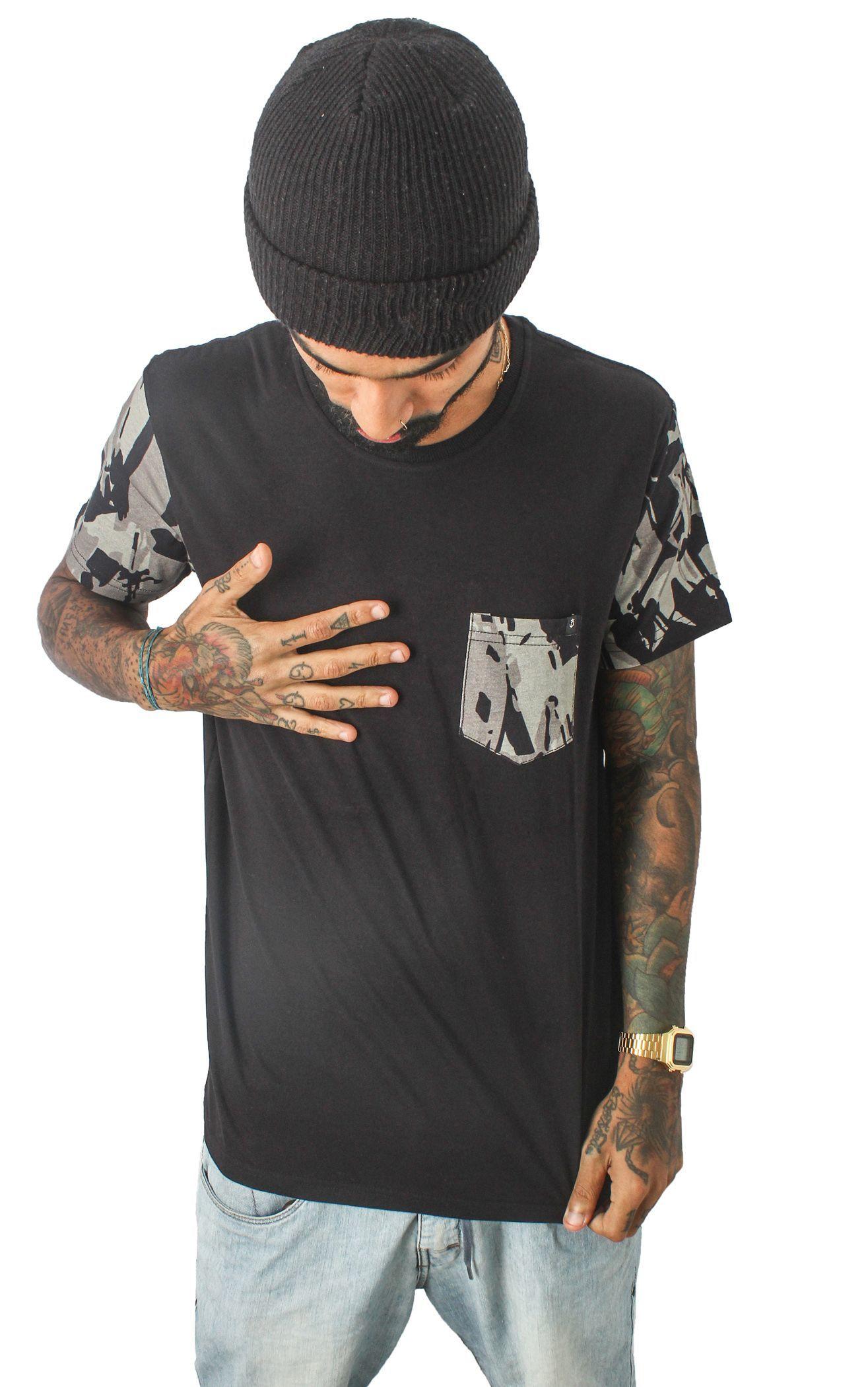 Camiseta Camo Mangas e Bolso - 31 CLOTHING