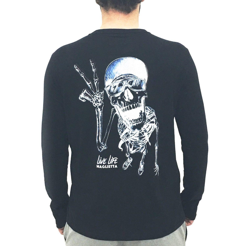 Camiseta Caveira Manga Longa Maglietta