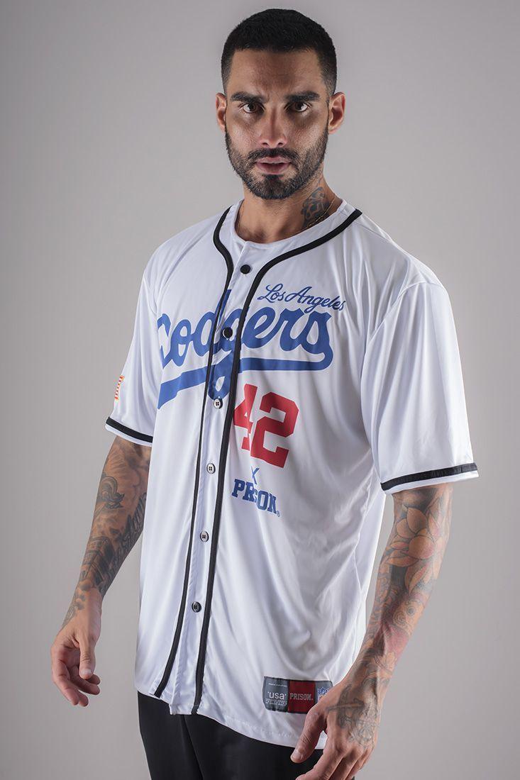 Camisa de Baseball Dodgers Prison Branca