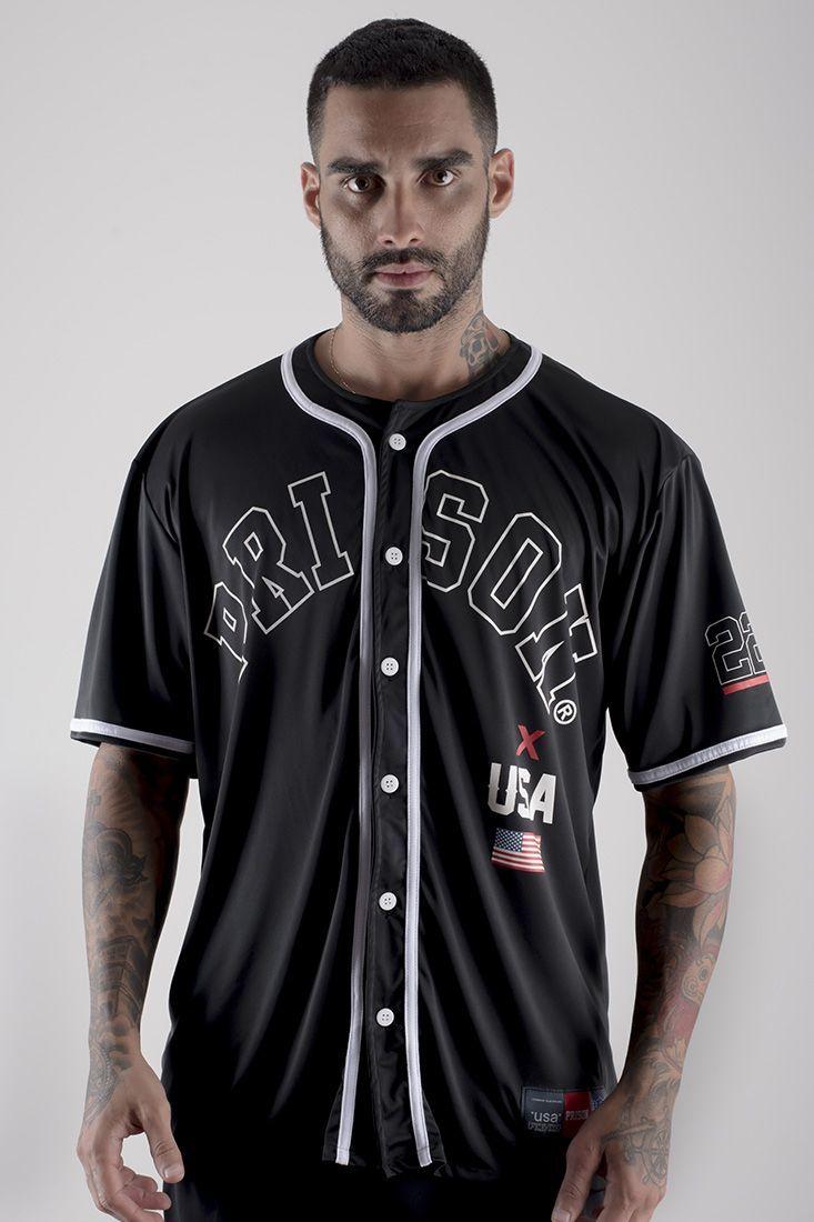 Camisa de Baseball Prison Americana Preta