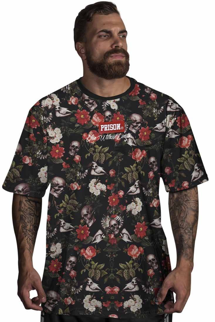 Camiseta Floral Skull Red Prison