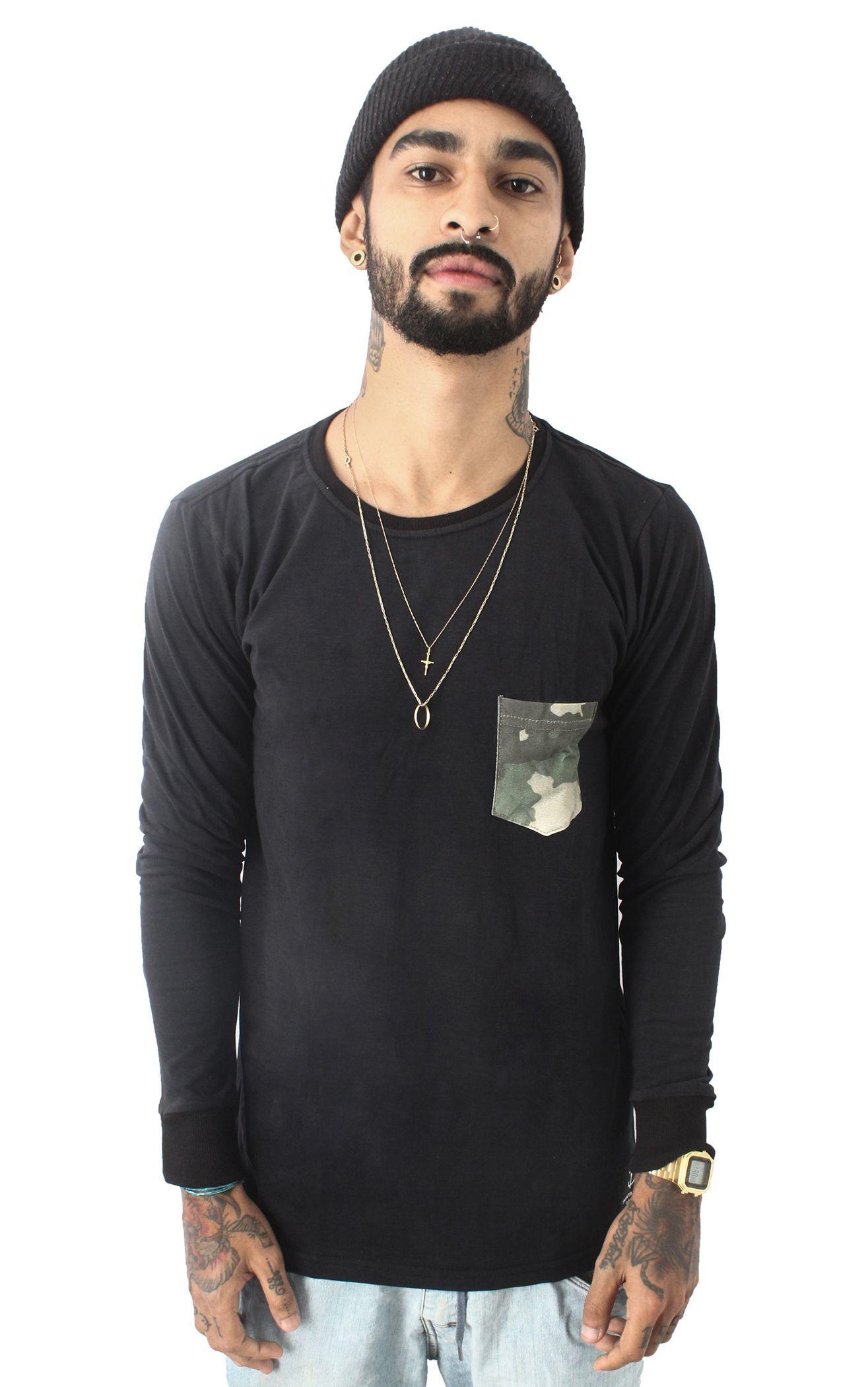 Camiseta Manga Longa Bolso Camo - 31 CLOTHING