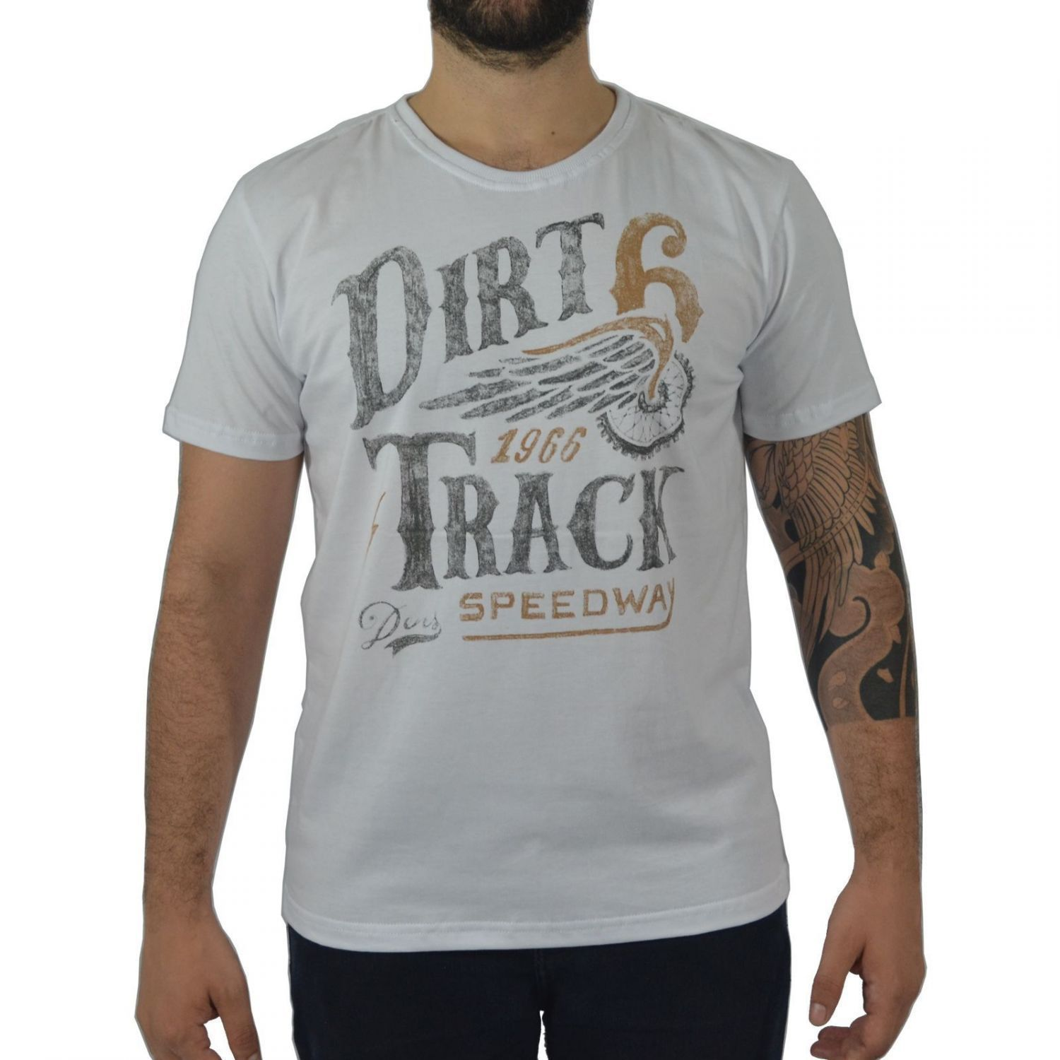 Camiseta Masculina Fallon & Co. Dirt Track Branca