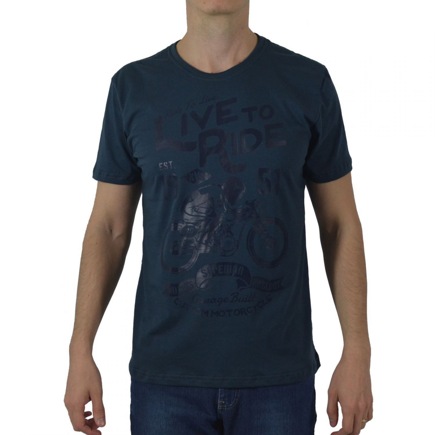Camiseta Masculina Fallon & Co. Live to Ride Chumbo