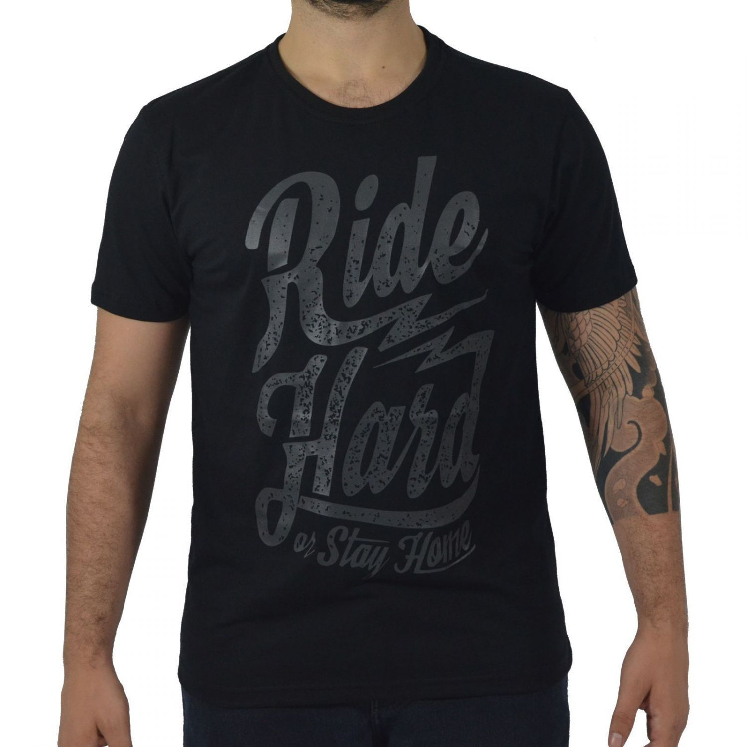 Camiseta Masculina Fallon & Co. Ride Hard or Stay Home Preta
