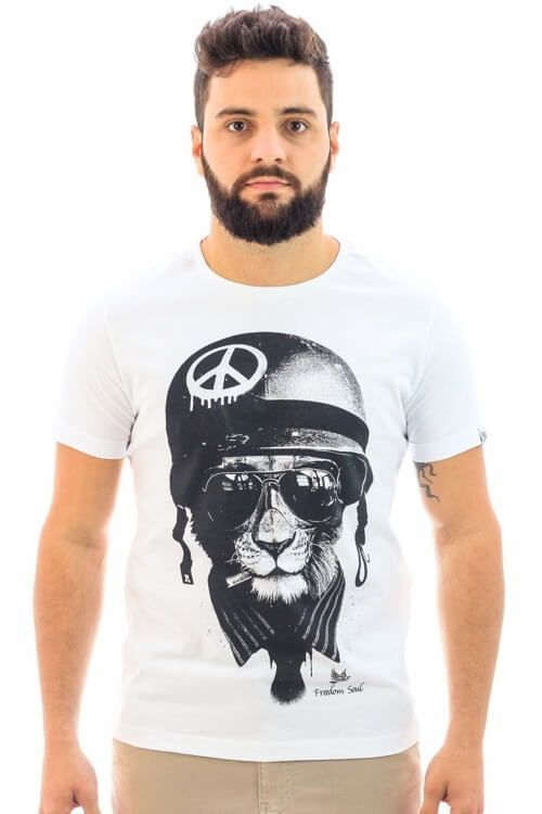 Camiseta Peace Soldier Branca (Freedom Soul)