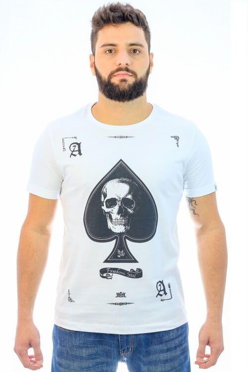 Camiseta Spade Skull Branco (Freedom Soul)