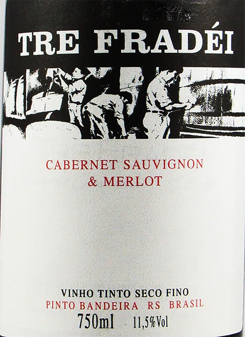 Vinho Tinto Seco Fino TRE FRADEI CABERNET / MERLOT VALMARINO