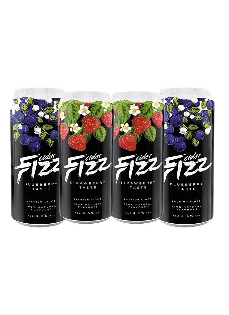 Sidra Fizz Premium Pack 4 latas de 500 ml Sabor Morango / BlueBerry