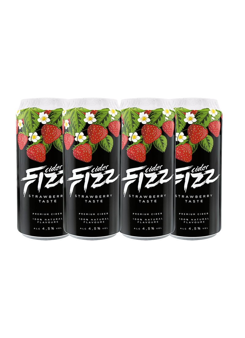 Sidra Fizz Premium Pack 4 latas de 500 ml Sabor Morango