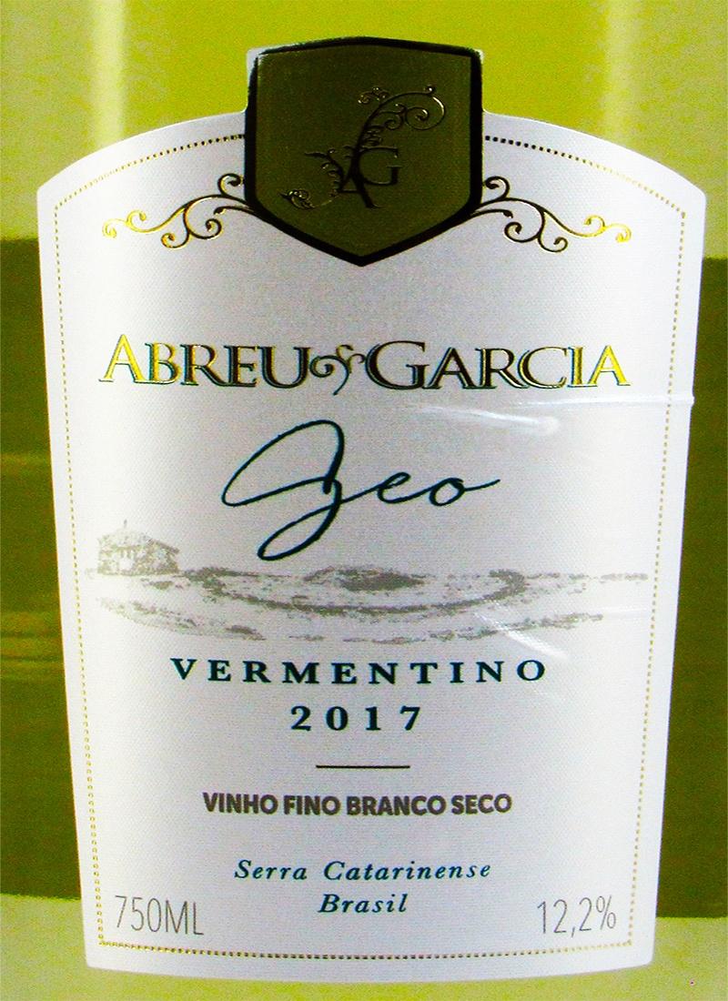 Vinho Branco Fino Seco VERMENTINO ABREU GARCIA 2017