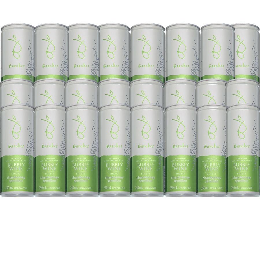 Vinho Branco Frisante Premium Australiano Barokes Pack Promo 24 latas de 250 ml