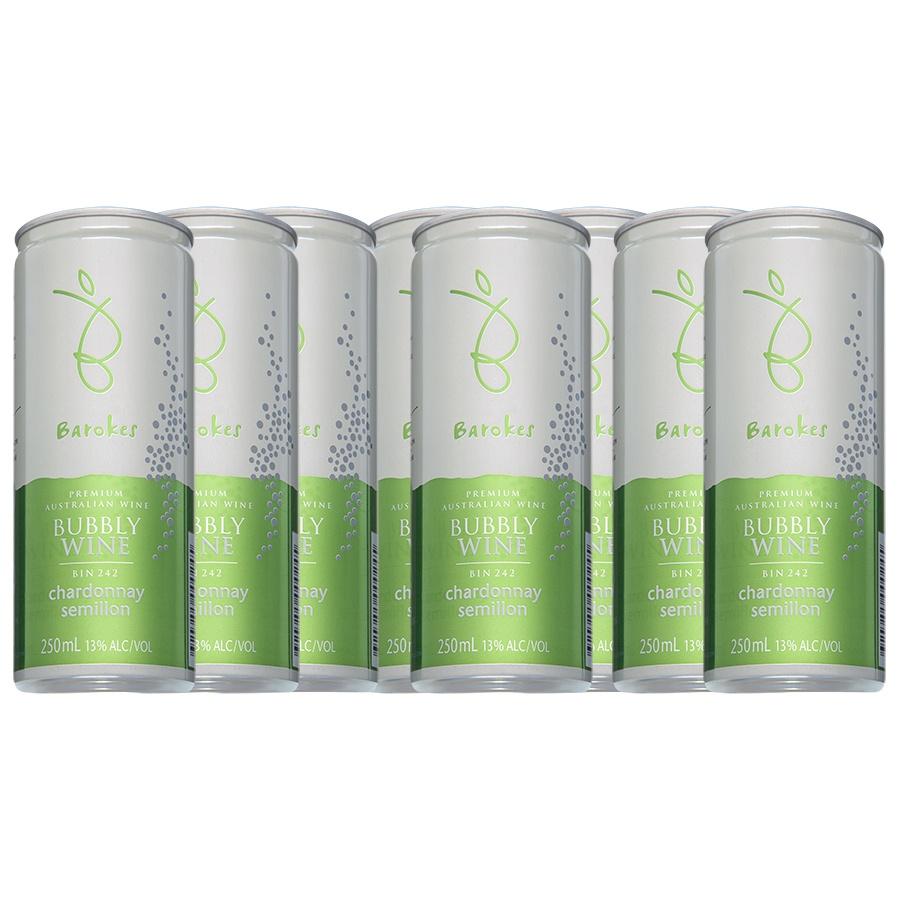 Vinho Branco Frisante Premium Australiano Barokes Pack Promo c / 8 latas de 250 ml