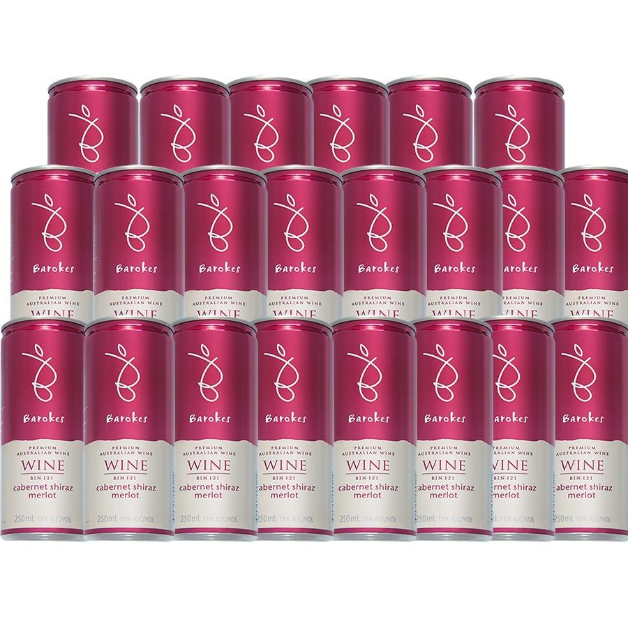 Vinho Tinto Premium Australiano Barokes Pack Promo 24 latas de 250 ml
