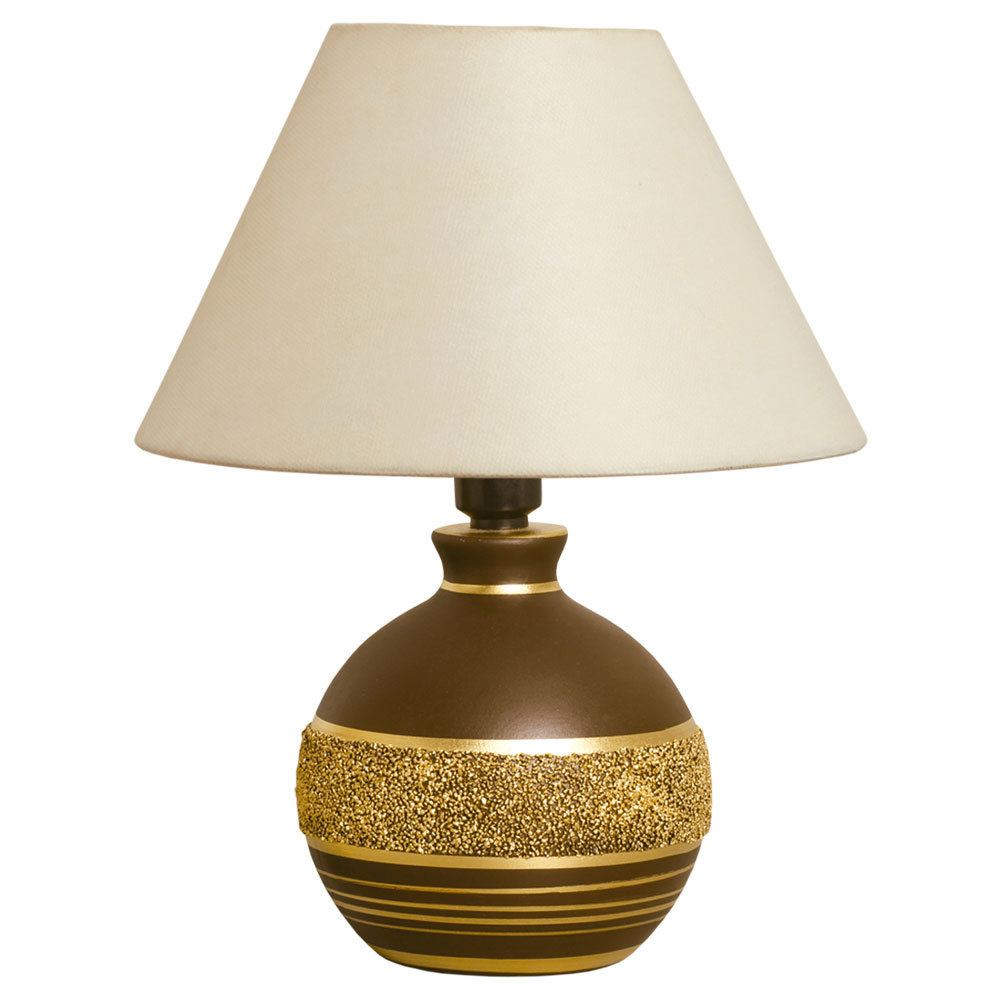 Abajur decorativo marrom e dourado para sala