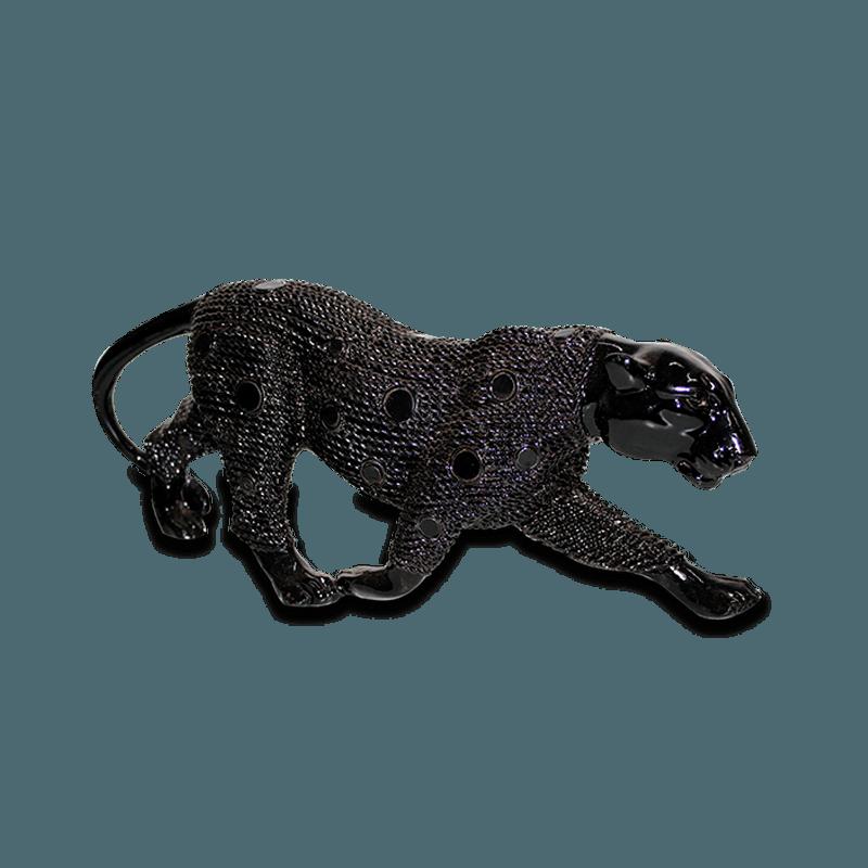 Leopardo Andando Gesso Preto