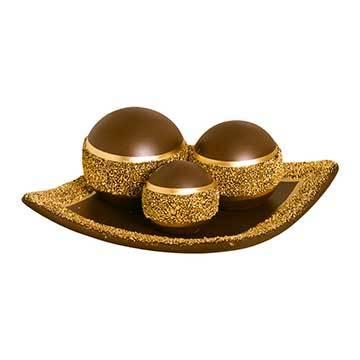 Prato C/ Esferas Nas Cores Marrom e Dourado