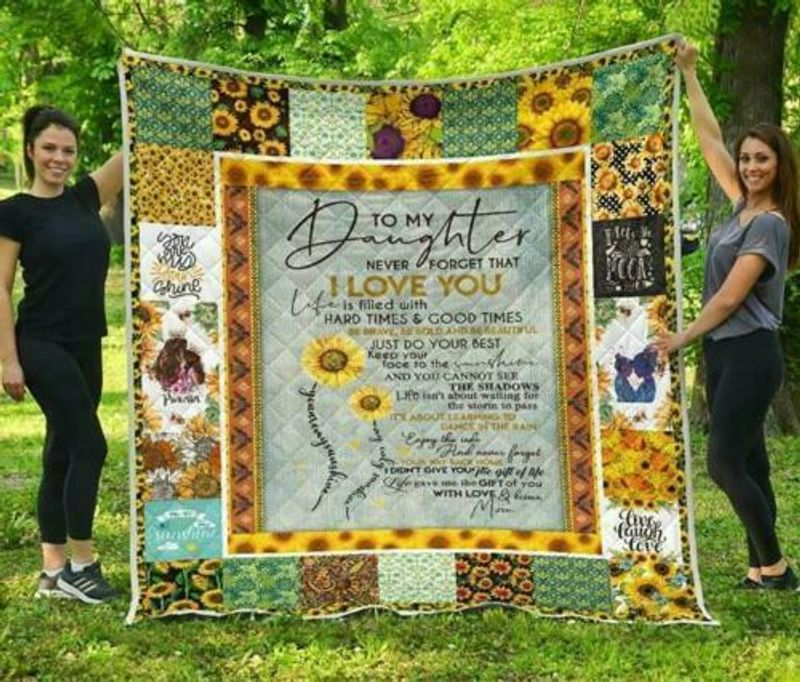 Sunflower To My Daughter Never Forget That I Love You Ver.2 Fleece Blanket 50-80