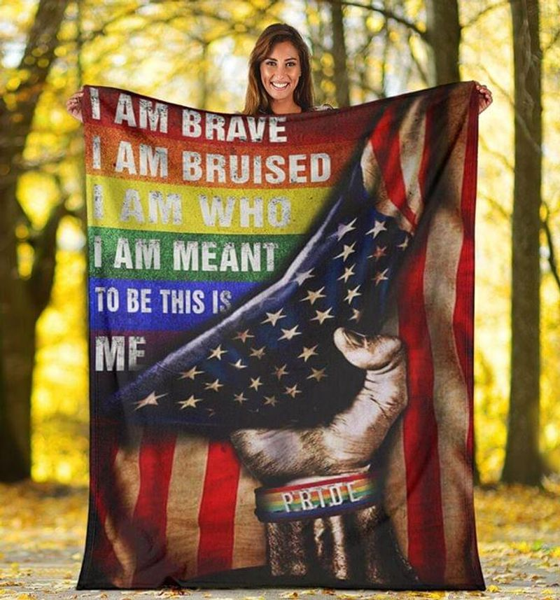 Lgbt Pride American Flag I Am Meant To Be This Is Me Fleece Blanket/ Quilt Full Sizes
