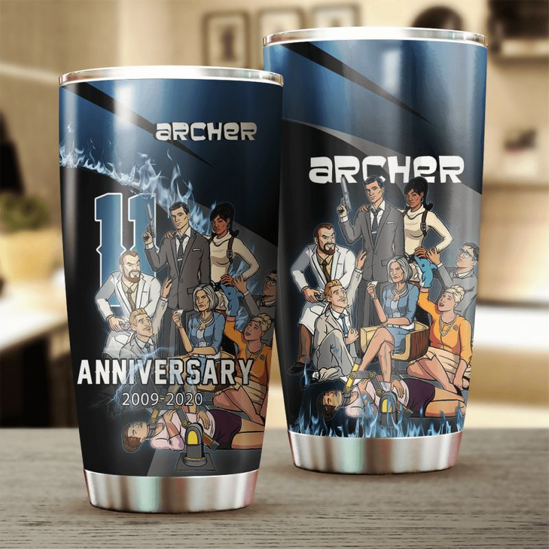 Archer 11 Anniversary Characters 20oz Stainless Steel Tumbler